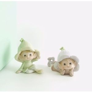 2 Homco Pixies Garden Elves 5615 Fairy Gnomes Vtge